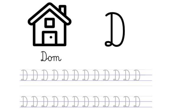Pisanie po śladzie w liniaturze: Litera D (3 karty pracy)