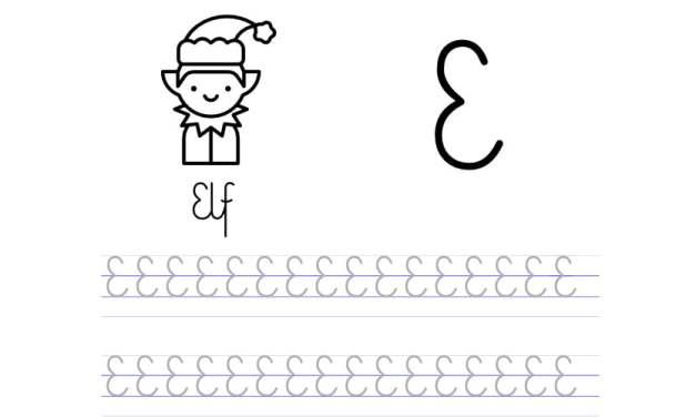 Pisanie po śladzie w liniaturze: Litera E (3 karty pracy)