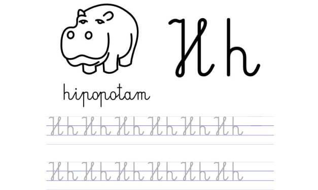Pisanie po śladzie w liniaturze: Litera H (3 karty pracy)