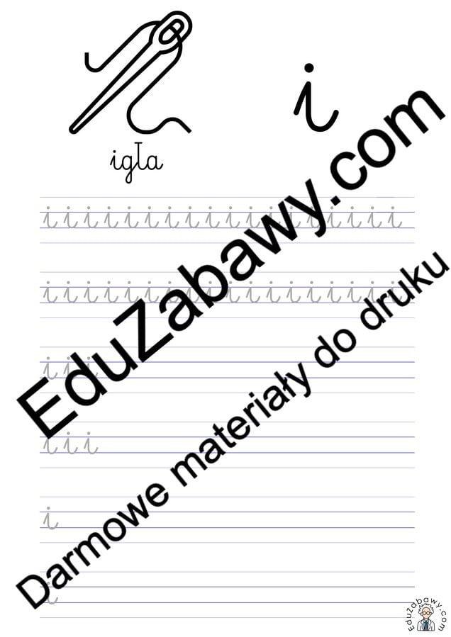 Pisanie po śladzie w liniaturze: Litera I (3 karty pracy) Alfabet (Nauka pisania) Nauka pisania Nauka pisania litery I