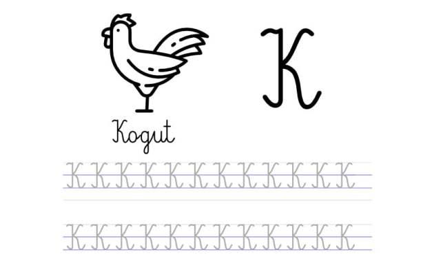 Pisanie po śladzie w liniaturze: Litera K (3 karty pracy)