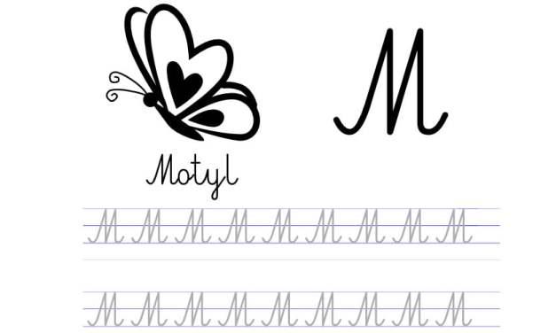 Pisanie po śladzie w liniaturze: Litera M (3 karty pracy)
