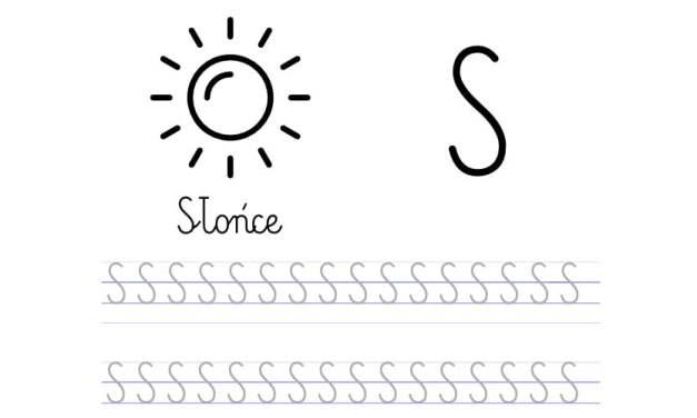 Pisanie po śladzie w liniaturze: Litera S (3 karty pracy)