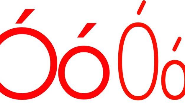 Czerwona samogłoska Ó do alfabetu szorstkiego