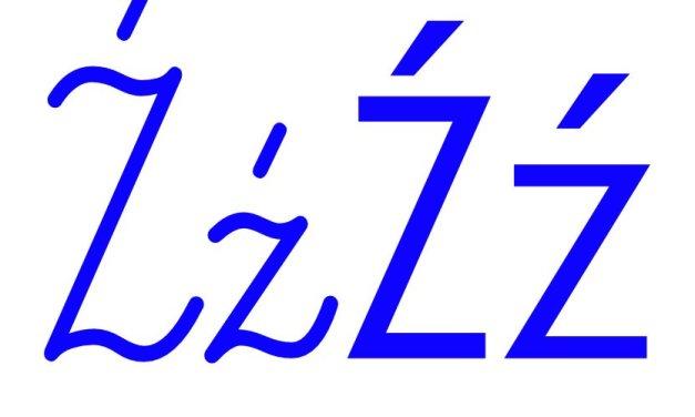 Niebieska spółgłoska Ź do alfabetu szorstkiego