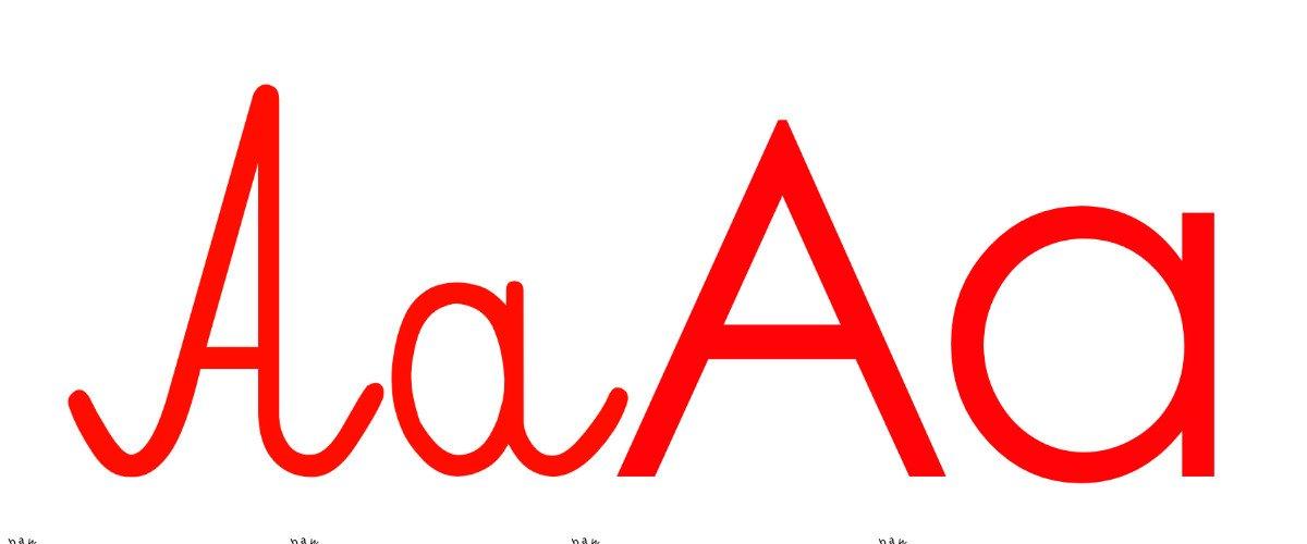 Czerwona samogłoska A do alfabetu szorstkiego
