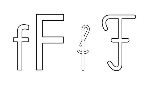 Kontury litery F pisane i drukowane (4 szablony)