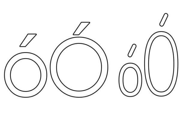 Kontury litery Ó pisane i drukowane (4 szablony)
