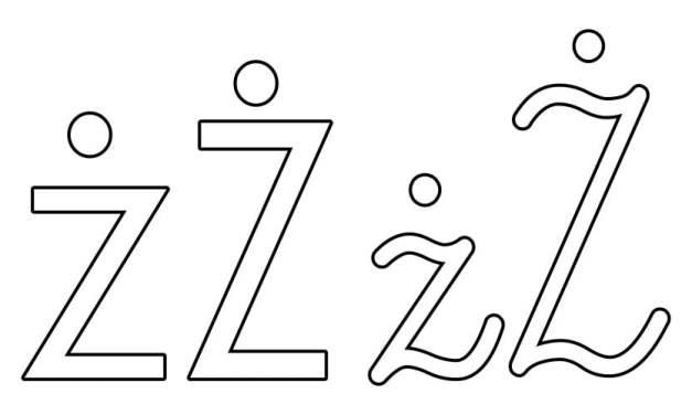 Kontury litery Ż pisane i drukowane (4 szablony)