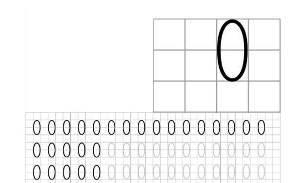 Nauka pisania cyfry 0 po śladzie