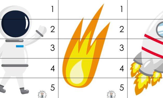 Kosmos: Puzzle 5 elementów (10 kart pracy)