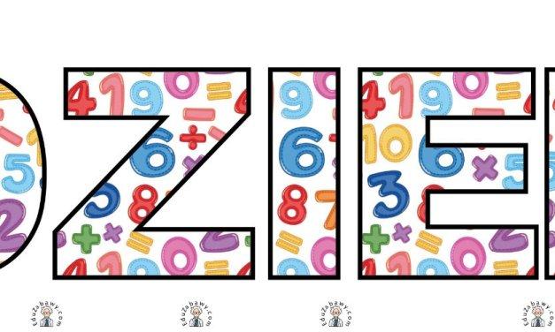 Napis Dzień Matematyki w cyfry