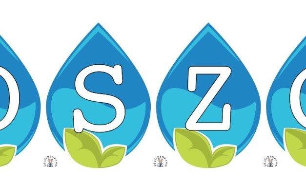 Napis Oszczędzaj wodę – kropla wody