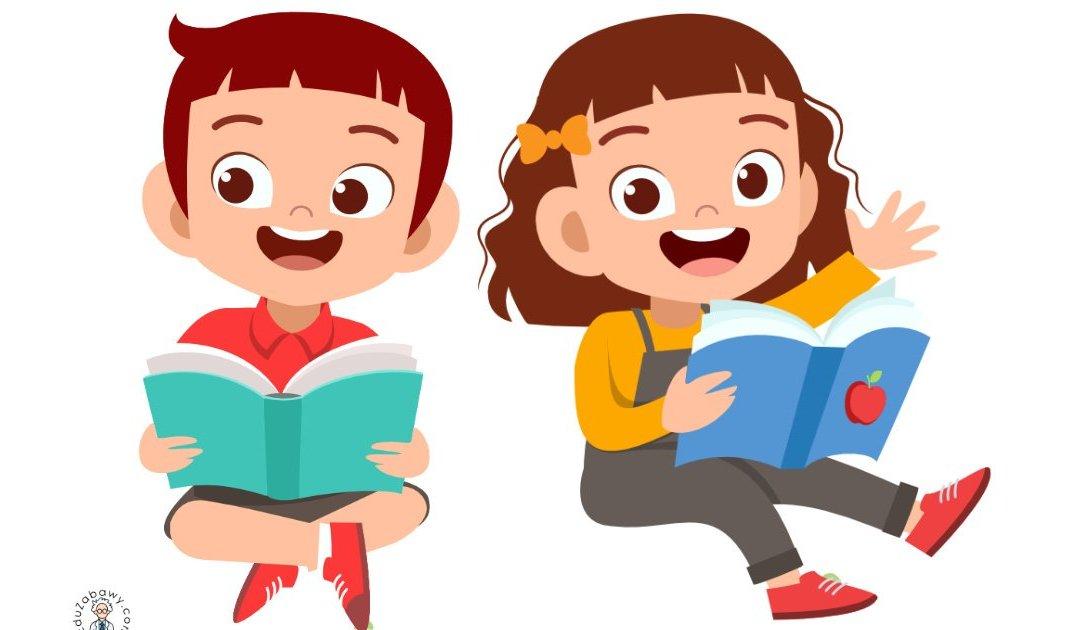 Dekoracje: Dzieci z książką (10 szablonów)