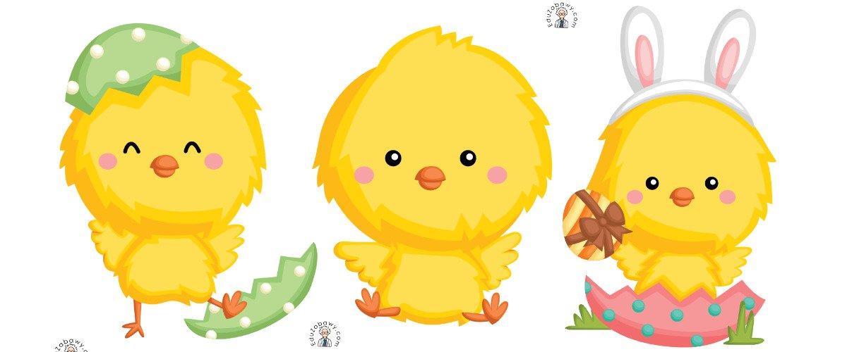 Dekoracje: Kurczaczek wielkanocny (10 szablonów)