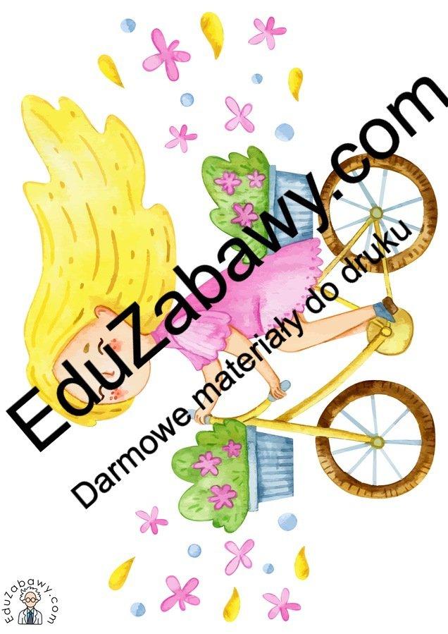 Dekoracje: Pani Wiosna na rowerze (7 szablonów) Dekoracje Dekoracje (Dzień Kobiet) Dekoracje (Wiosna) Wiosna