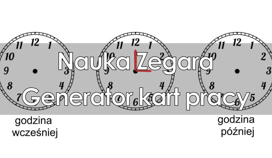 Generator kart pracy: Nauka zegara