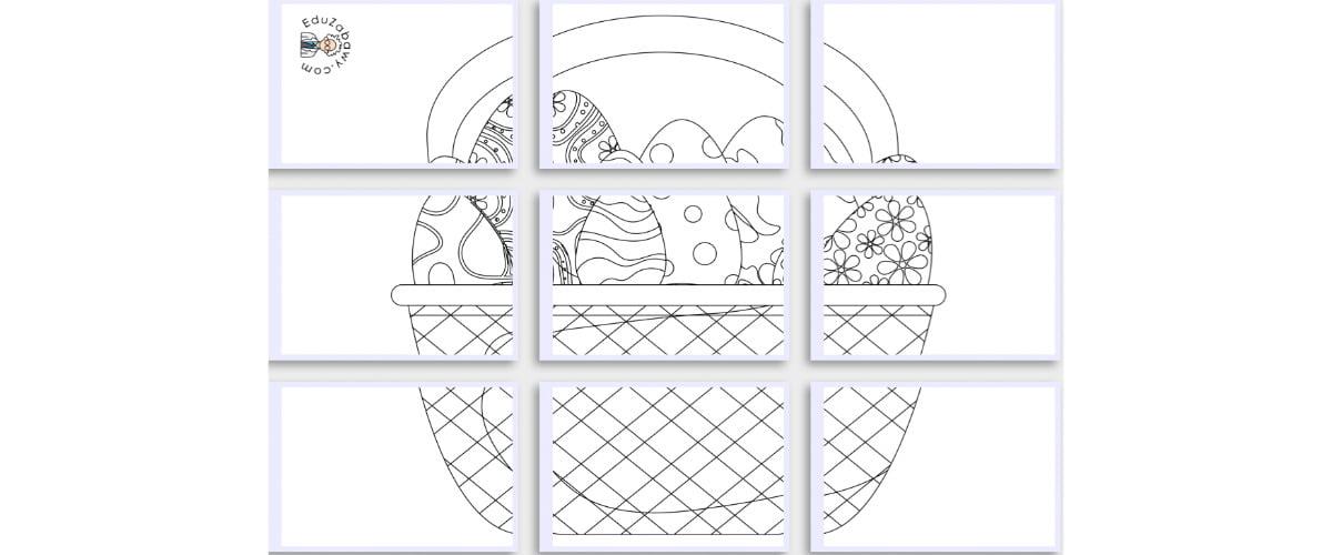 Kolorowanki XXL: Koszyk wielkanocny (8 szablonów)