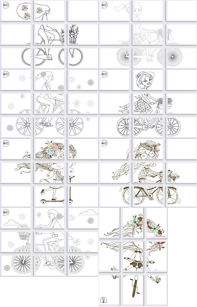 Kolorowanki XXL: Pani Wiosna na rowerze (8 szablonów) Kolorowanki Kolorowanki (Dzień Kobiet) Kolorowanki (Wiosna) Kolorowanki XXL Wiosna