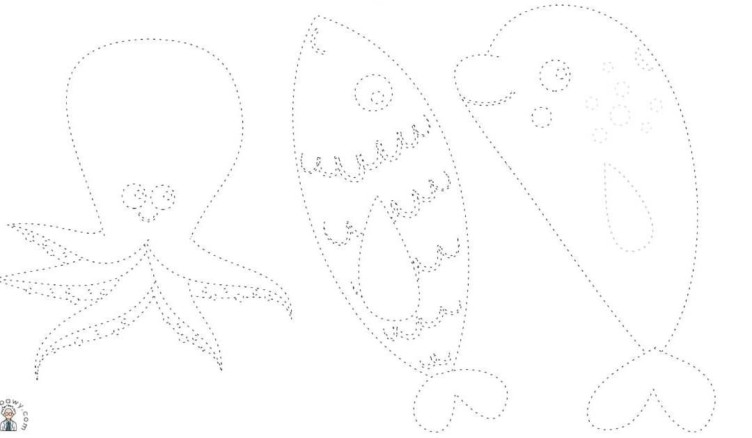 Zwierzęta mórz i oceanów: Grafomotoryka (10 kart pracy)