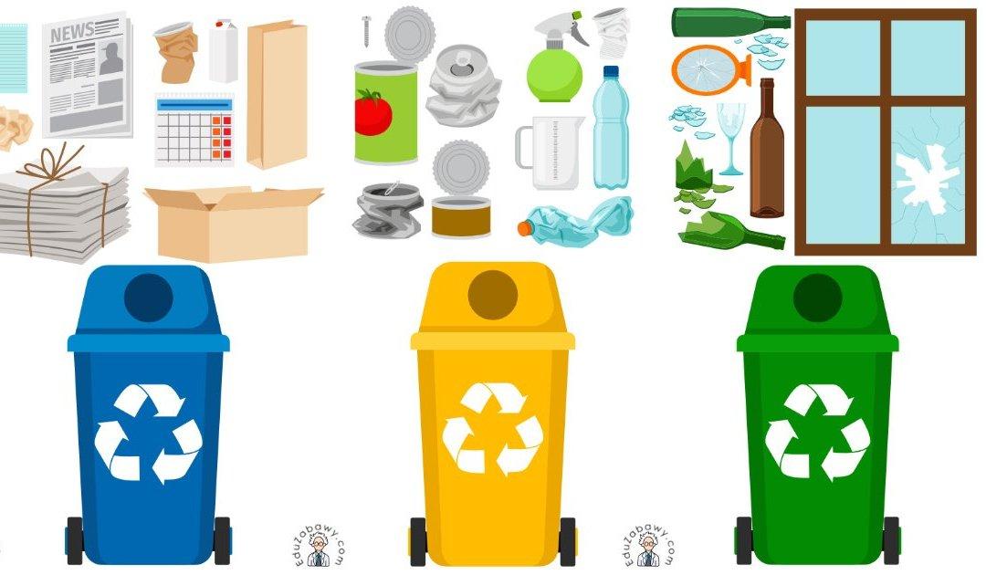 Dekoracje: Sortowanie śmieci (10 szablonów)