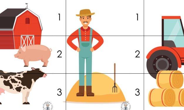 Na wsi: Puzzle 3 elementy (10 kart pracy)
