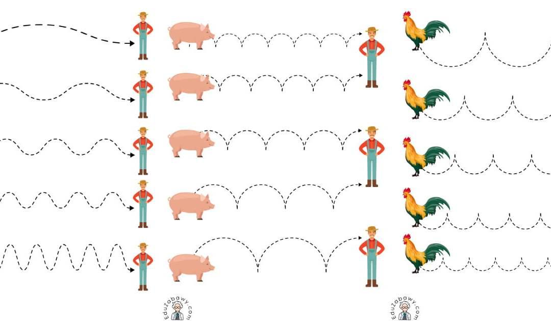 Na wsi: Szlaczki (10 kart pracy)