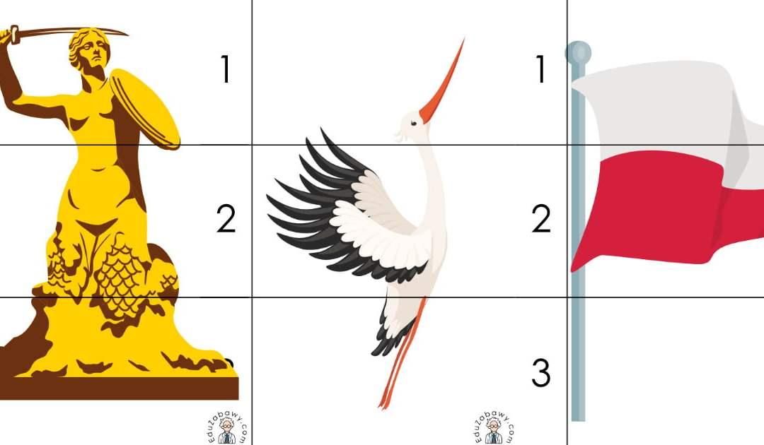 Patriotyczne Puzzle 3 elementy (10 kart pracy)
