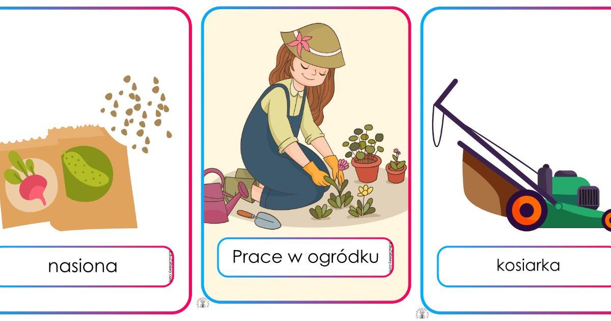 Plansze dydaktyczne: prace w ogrodzie (23 plansze)