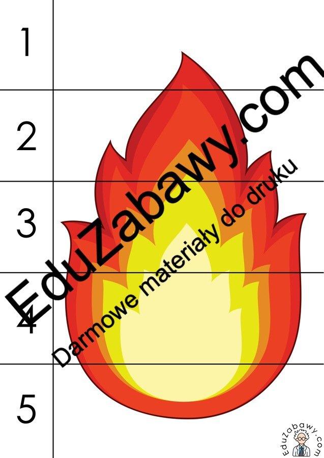 Strażak: Puzzle 5 elementów (10 kart pracy) Dzień Strażaka Karty pracy Karty pracy (Dzień Strażaka) Puzzle