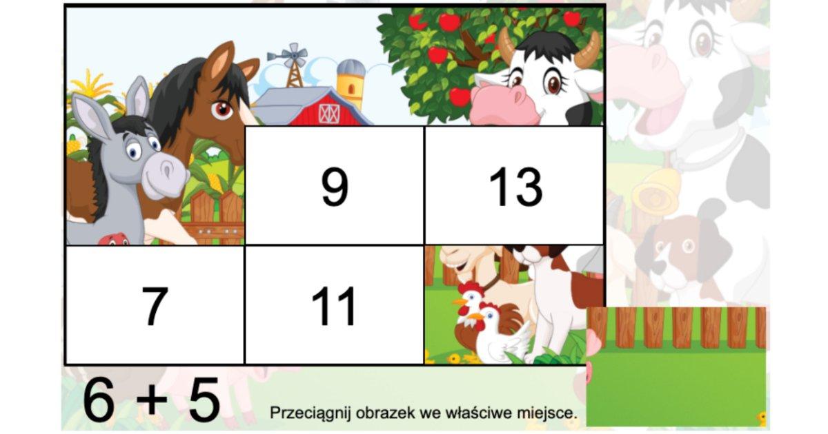 Gra online: Puzzle matematyczne: Zwierzęta wiejskie