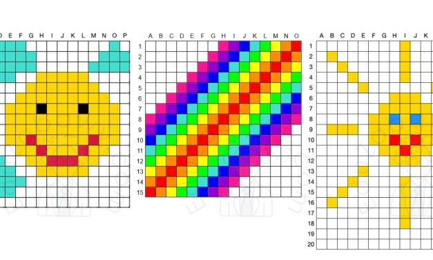 Kodowanie / Dyktando graficzne: Słońce i tęcza