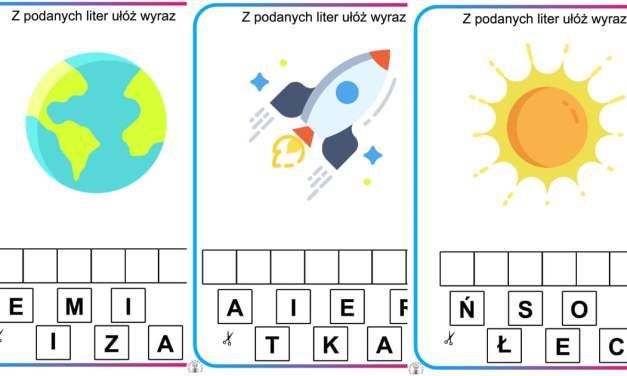 Ułóż wyraz z liter: Kosmos i planety