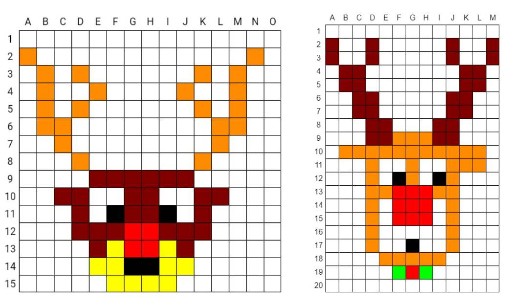 Kodowanie / Dyktando graficzne: Renifer