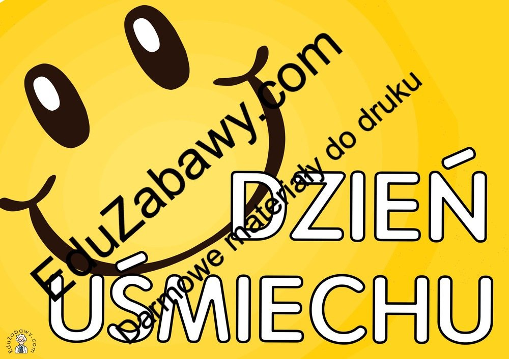 Plakat na Dzień Uśmiechu A4 i XXL: z emotką Dzień Uśmiechu Plakaty (Dzień Uśmiechu)