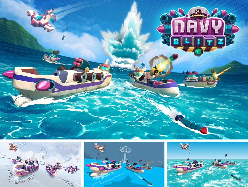 Navy Blitz promotional title and stages