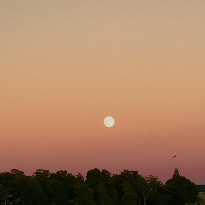 Moonrise as the sun sets in Kingston