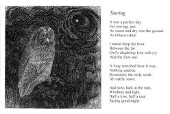 Sowing Poem by Edward Thomas with original wood engraving by Yvonne Skargon