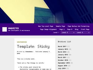 Unquieted Custom WordPress Theme
