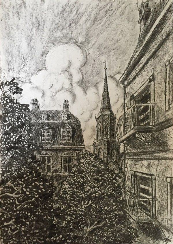 Stadsgezicht uit de fantasie - houtskool op papier