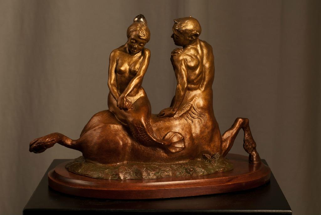 """Centaurus and Mermaid (bronze) 6""""x9""""x8"""""""