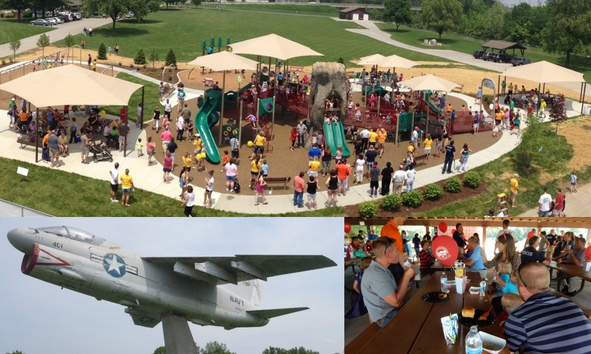 A collage of the Naval Aircraft, people sitting at picnic tables under a pavilion, and the boundless playground with children and families playing, all at Township Park