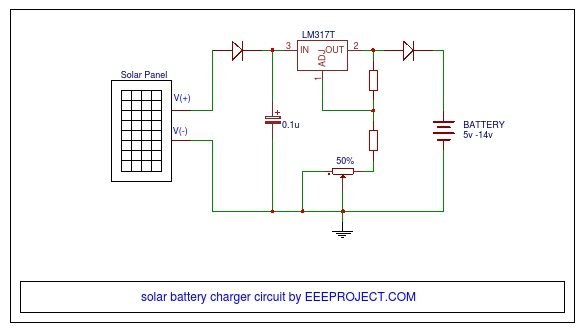 Solar Battery Charger Circuit With Voltage Regulator And Mobile - Circuit Diagram Battery