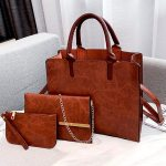 3PCS Women's Bag Set Fashion PU Leather Ladies Handbag Solid Color Messenger Bag Shoulder Bag Wallet Bags For Women 2019
