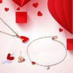 MYQAMRA 18k rose gold small red heart necklace female clavicle chain Valentine's day gift for girlfriend Jewelry