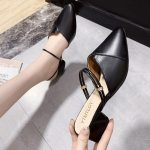 Party Women Mules Slipper Pointed Toe Block Strap Closed Shallow High Heels Shoes Sandals Black Beige Square heel Pumps