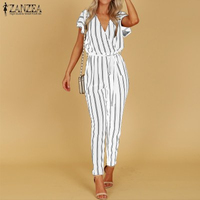 S 5XL ZANZEA 2019 Summer Sexy Deep V Neck Party Jumpsuit Women High Waist Striped Overalls Short Sleeve Long Turnip Bodysuit