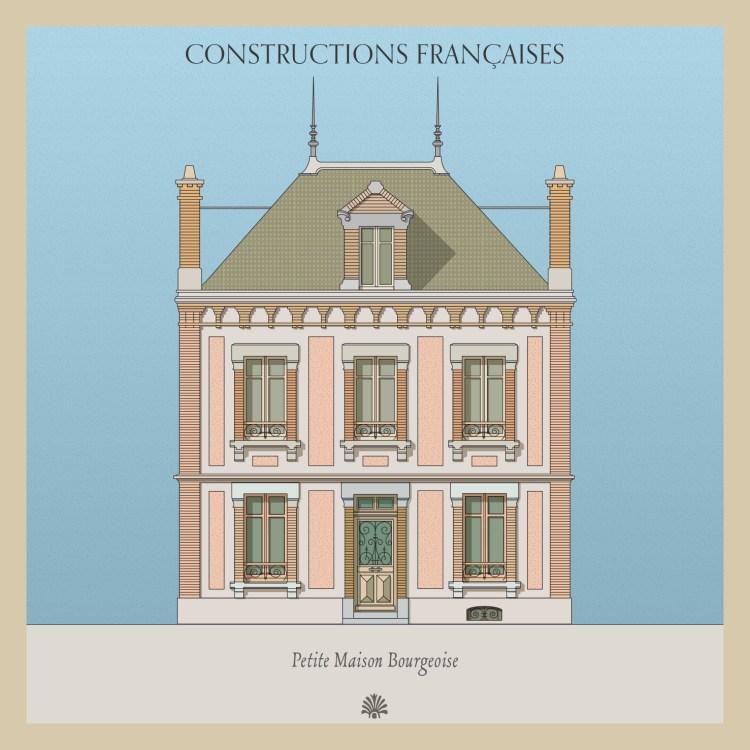 vooraanzicht van Frans huis naar 19de eeuwse litho