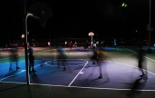 A long exposure of a pick-up basketball game at Encanto Park in Phoenix, Arizona on February 26, 2017.