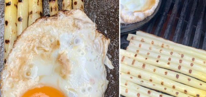 Gegrilde asperges met spiegelei en sojasaus